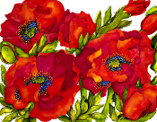 Bold red poppies with cobalt blue centers on a white background on a tempered glass cutting board / trivet.