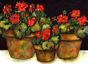 3 Geraniums Art Tile