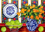 English Still Life Art Tile