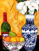 Calla Lilies and Wine Art Tile