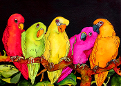 5 Parrots Giclee  (4 sizes available)