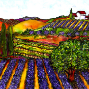 Lavender & Wine Fields Art Tile