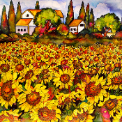 Garden, summer, tile, Kate Larsson, colorful