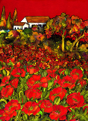 Red Poppy Fields Art Tile