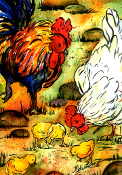Chicken Family Giclee (4 sizes available)