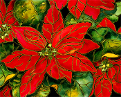 Poinsettias with Gold Accents  Art Tile