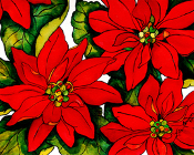 Simple Poinsettias   Giclee (3 Sizes)
