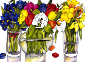 3 Spring Bouquets Art Tile