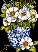 White Peonies Art Tile