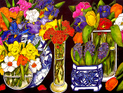 5 Bouquets on Black Giclee (3 Sizes available)