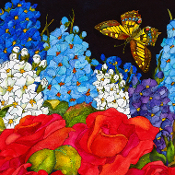 Red Roses, Blue Delphinium and a Butterfly are reproduced on a ceramic tile.