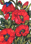 Poppy Profusion Art Tile