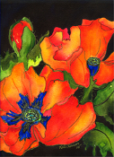 Orange  Poppies Art Tile