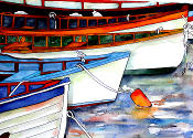 Row Boats Art Tile