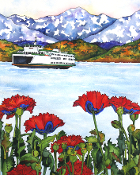 Red Poppies and Ferry