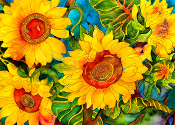 Golden Sunflowers Art Tile