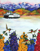 Hummingbirds & Ferry Art Tile