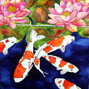 Koi Fish and Water Lilies