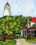 Ocrascoke Lighthouse  Art Tile