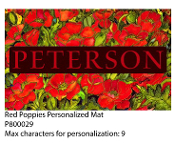 Red Poppies Personalized Floor Mat