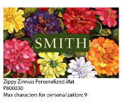Zippy Zinnias Personalized Floor Mat
