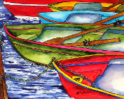 Colorful Row Boats Art Tile