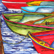 Colorful Row Boats Coaster