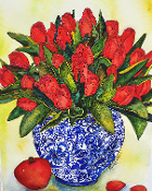 Red Tulips and an Apple  Art Tile