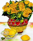 Yellow Roses & Lemons Cutting Board (2 Sizes)