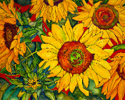 Sunflowers on Red Art Tile