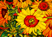 Sunflowers on Red Cutting Board (2 Sizes)